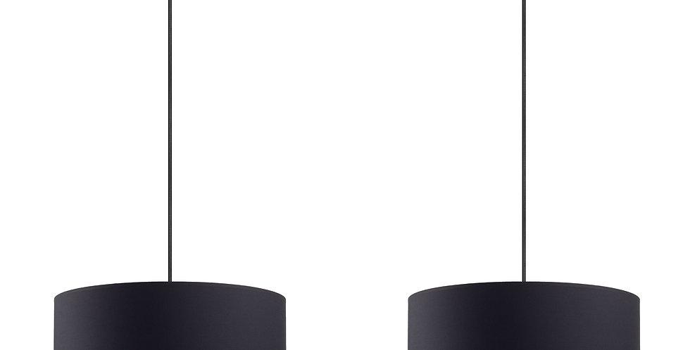 Lámpara colgante doble MIKA L 2 / S Negra/Cobre