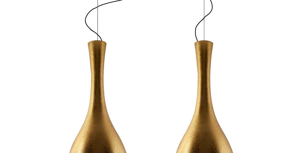 ITTEKI 2/S lámpara colgante doble, de pan de oro, cable negro, florón negro