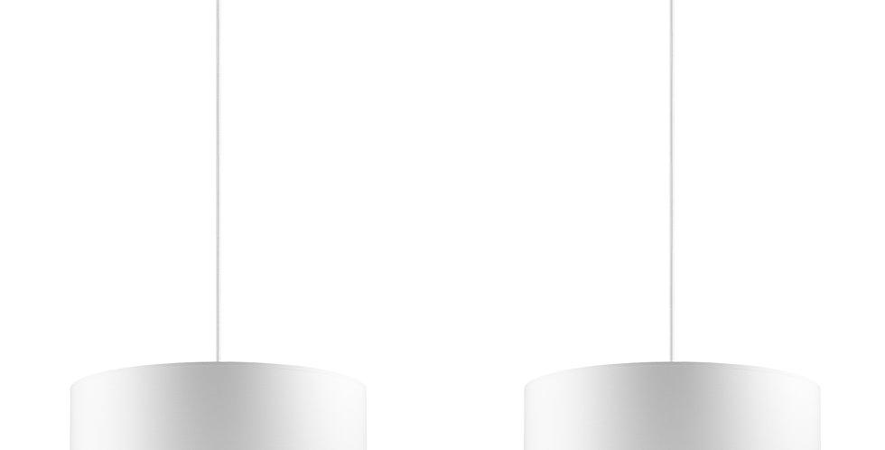 Lámpara colgante doble MIKA L 2 / S Blanca/Plateada