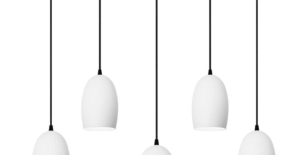 Lámpara colgante quíntuple UME 5 / S BLANCA/CABLE NEGRO