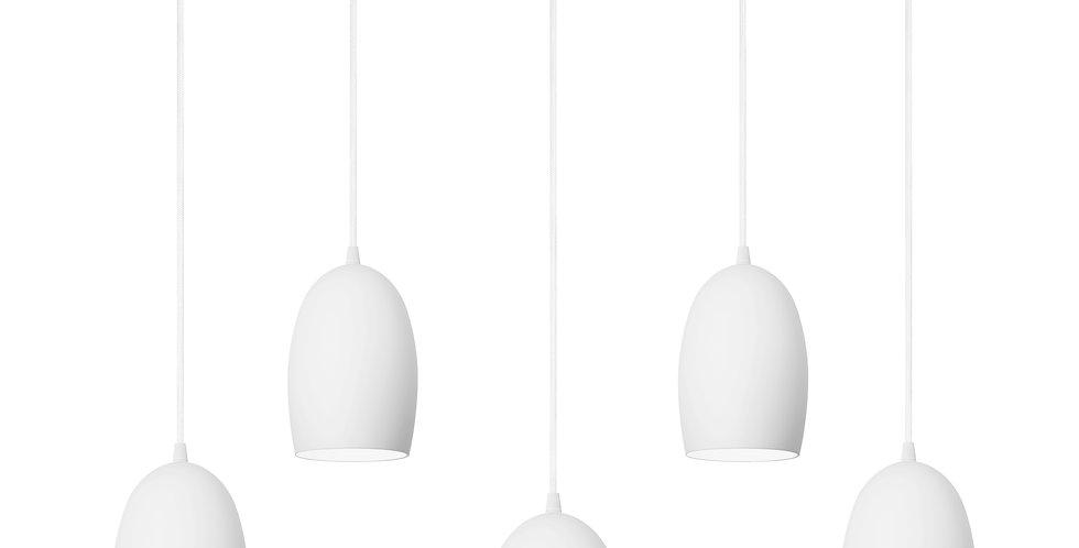 Lámpara colgante quíntuple UME 5 / S BLANCO