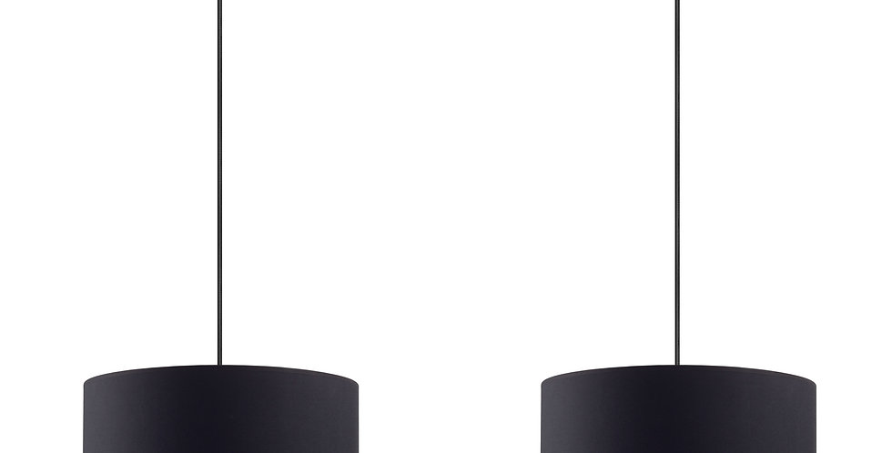 Lámpara de Techo colgante con Pantalla de Tela de Diseño Mika M 2_S Negra/Plata
