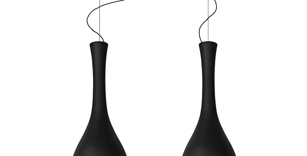 ITTEKI 2/S lámpara colgante doble, opal mate, cable negro, florón negro