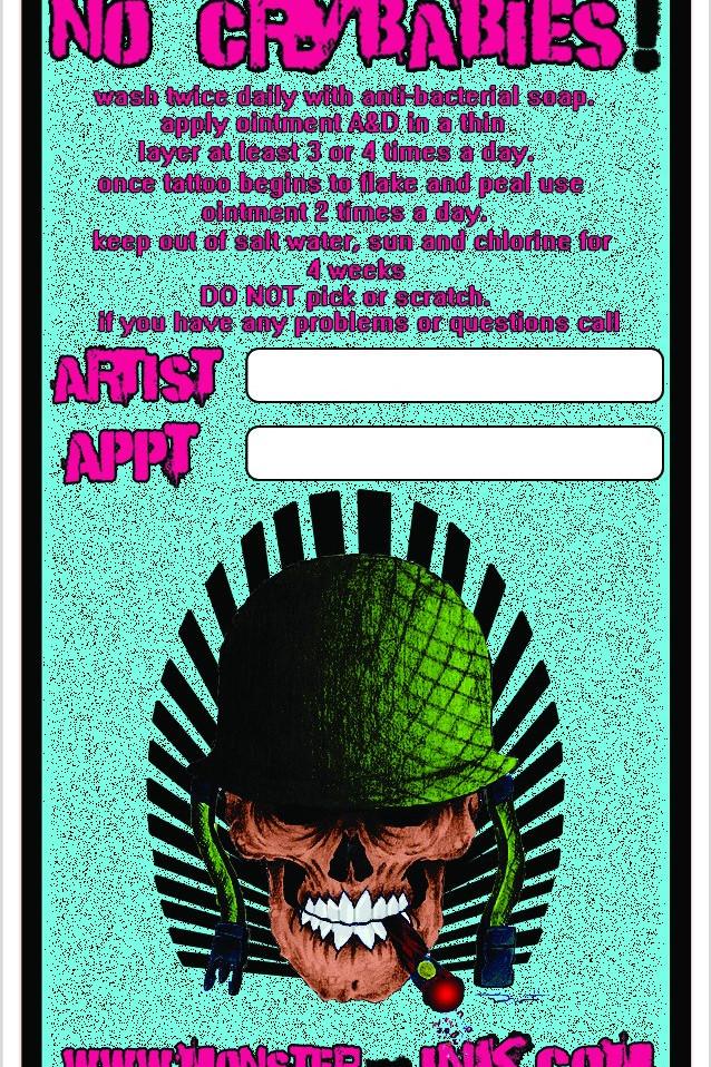 Monster Ink Tattoos business card design (Back)