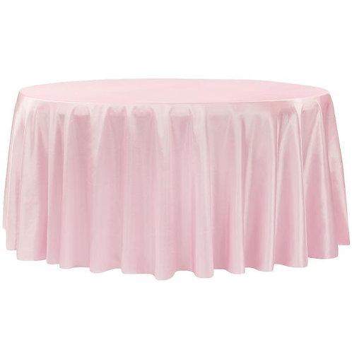 120 Inch Pink Taffeta Round