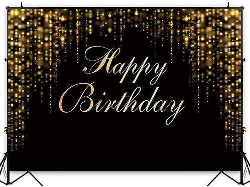 Black and Gold Happy Birthday Pipe & Drape