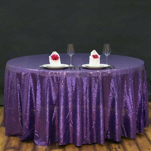 Purple Floral Round Linen