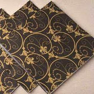 Black & Gold Paisley Napkins