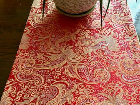 Red and Gold Paisley Runner