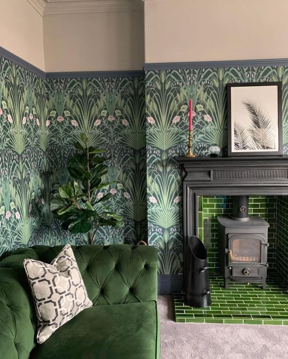 botanica wallpaper, green living room, home decor , how to style a room