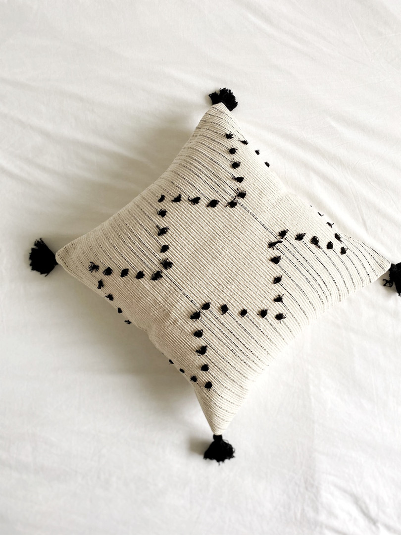 Black and white boho cushions