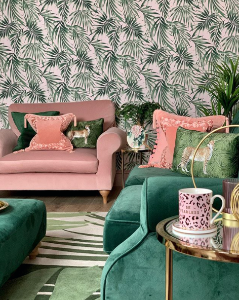 pink and green decor