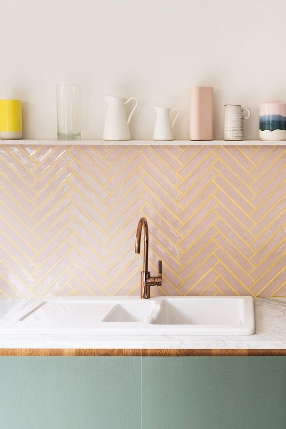 pink tiles, kitchen tiles, tiles trend, pink and green kitchen, home decor