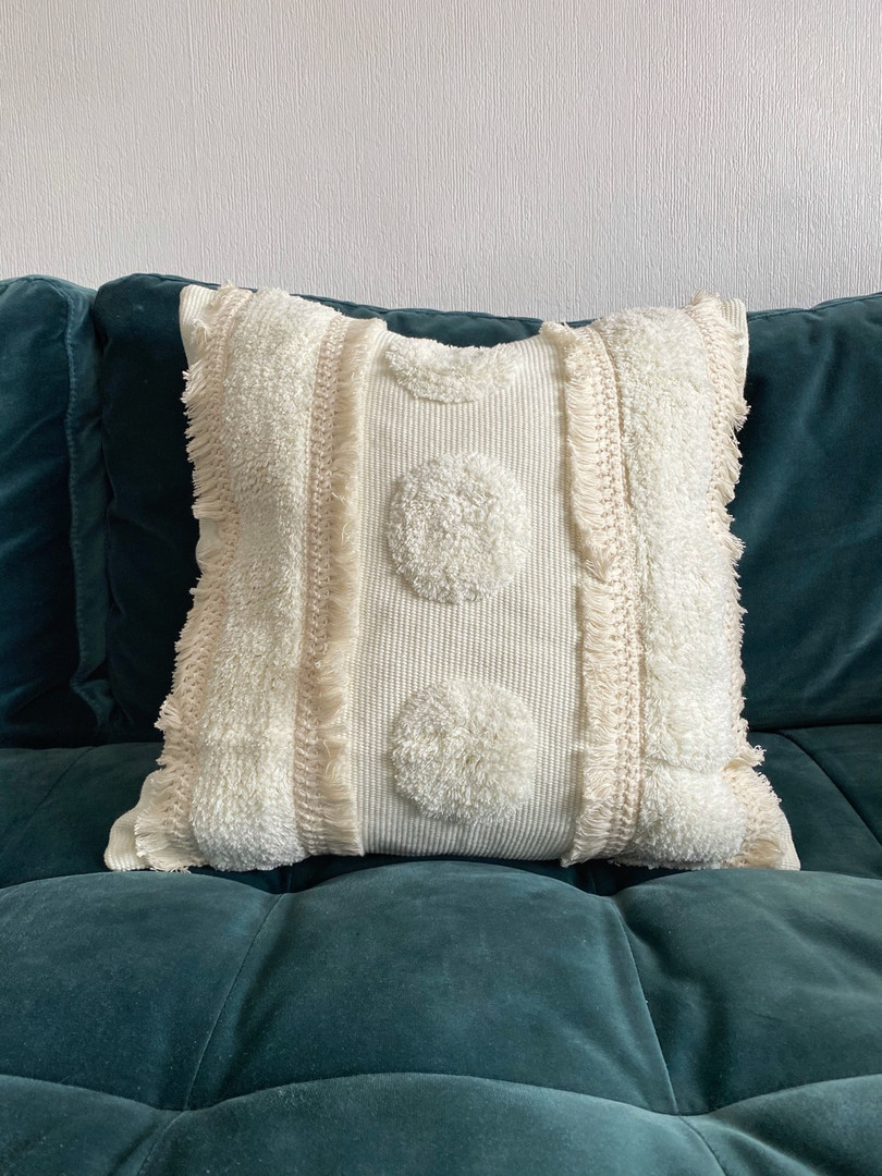 Tassel cream boho cushion