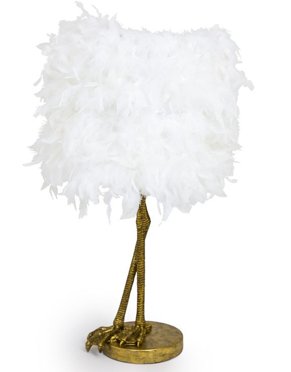 Quirky trendy home accessories , white feather bird leg lamp