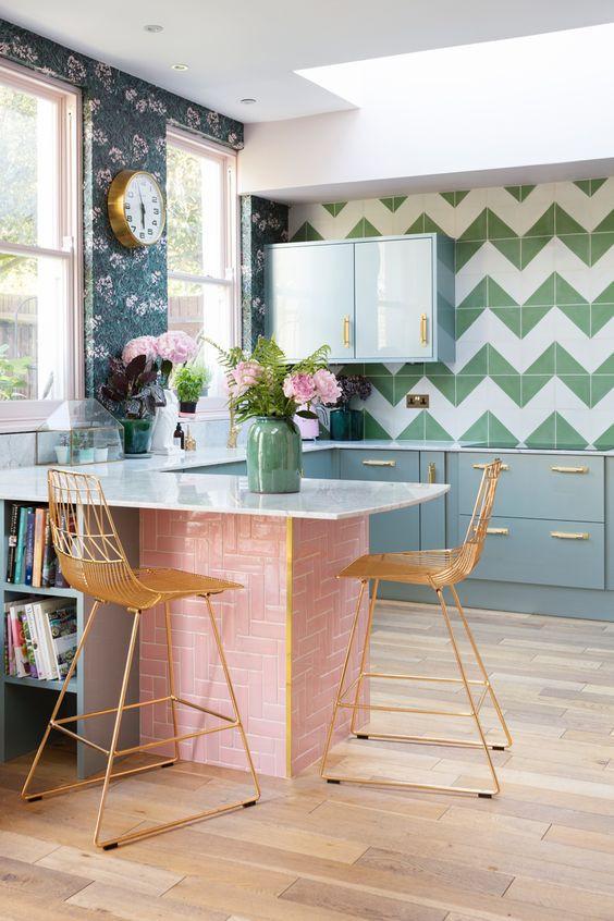 Kitchen decor, pink and green kitchen decor, kitchen inspiration