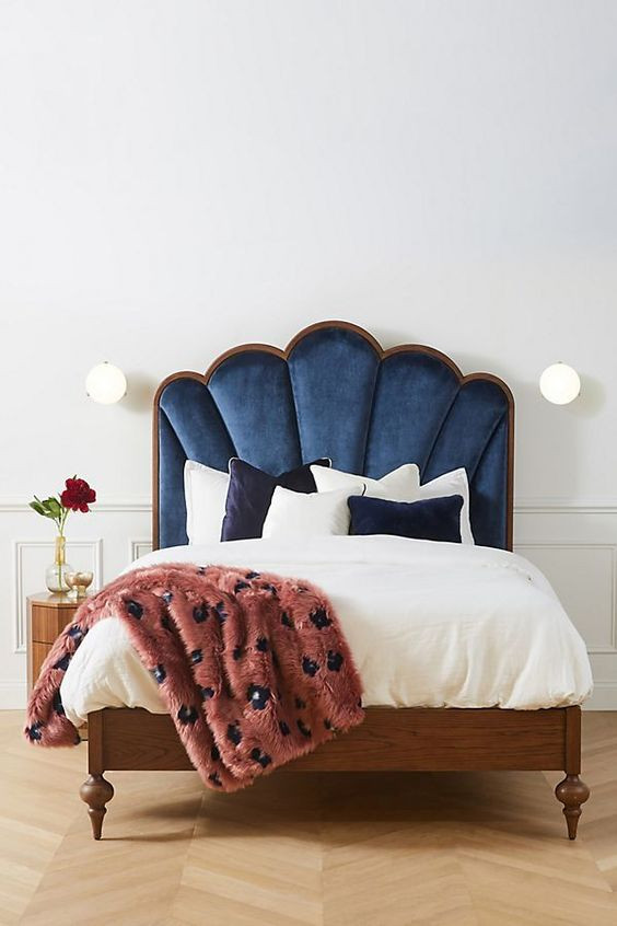 Bedroom inspiration, home decor blog, velvet bed, decor trends, accessories shop, quirky home decor , home blog
