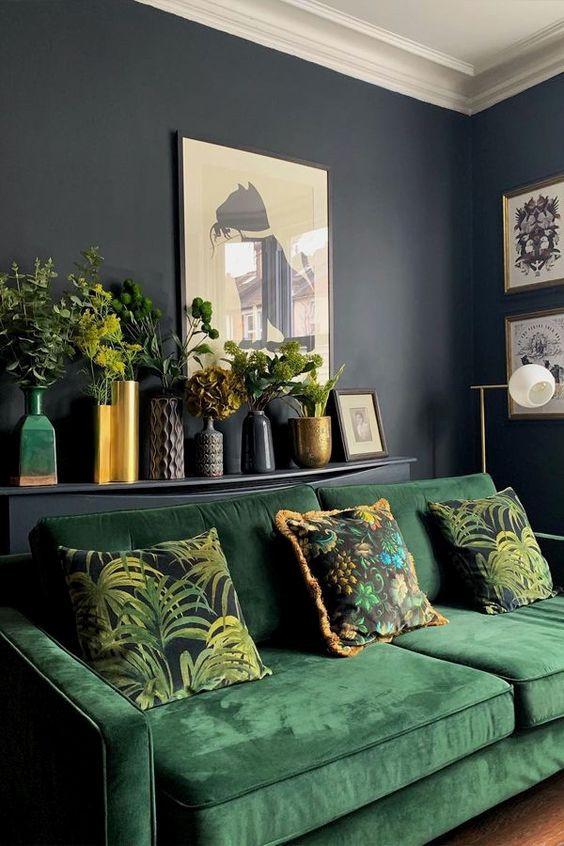 Green sofa living room decor, home decor blog, interior decor tips