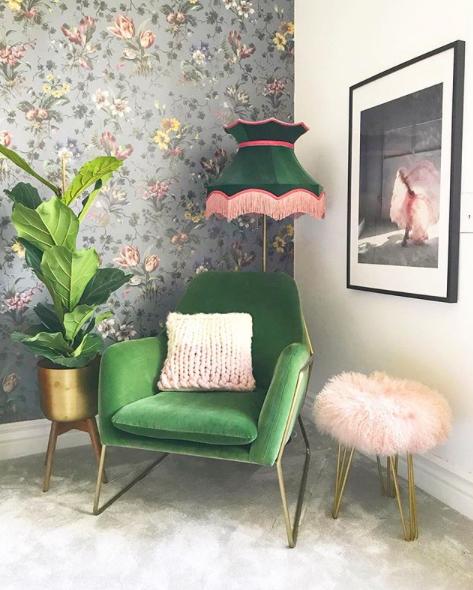 Pink and green decor, living decor, living room inspiration