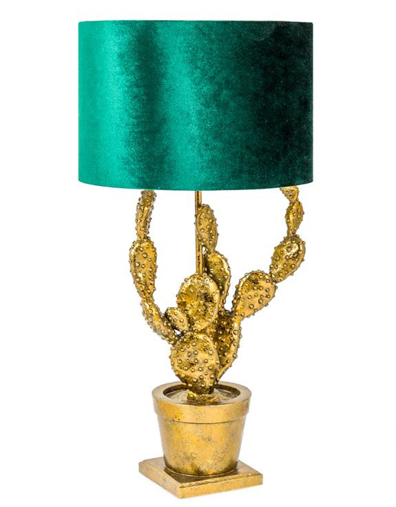 Quirky trend home accessories, Gold cactus lamp with green shade