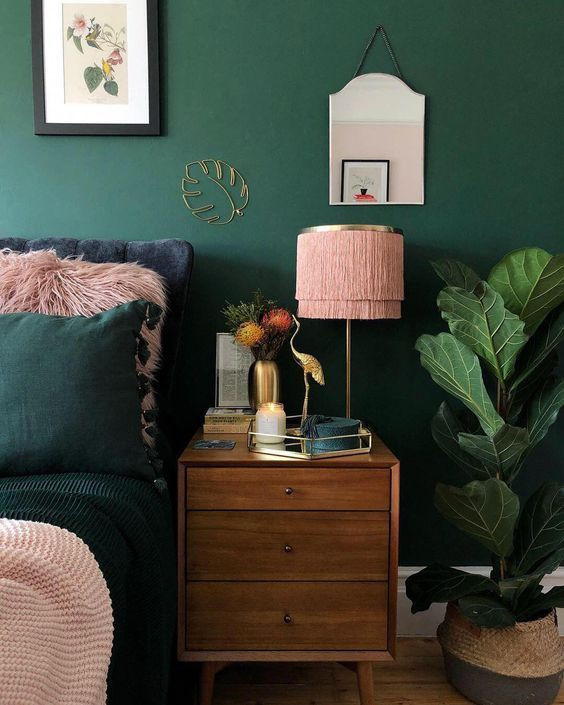Pink and green bedroom decor