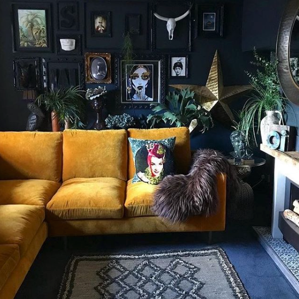 feature wall ideas, yellow velvet sofa, home decor ideas, living room styling, home decor blog