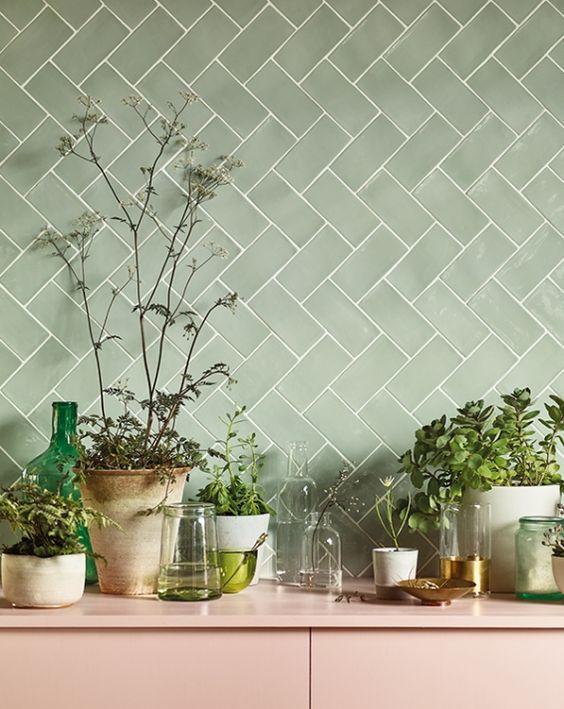 green tiles, kitchen tiles, pink and green kitchen, kitchen trend kitchen decor ideas