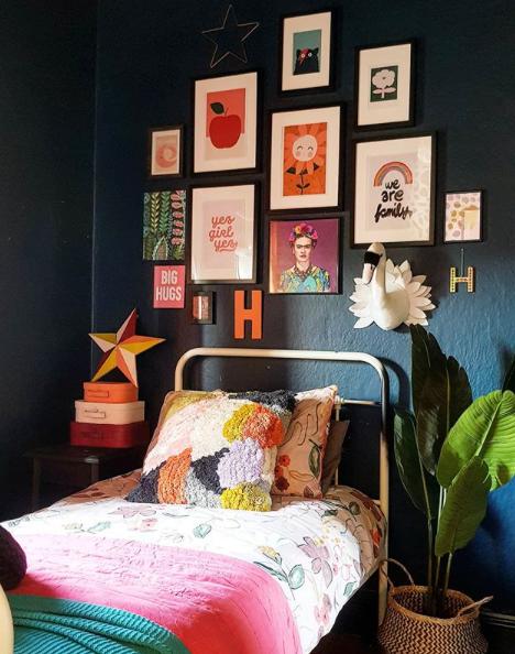 bedroom feature wall, dark bedroom wall, cute kids bedroom, trendy kids room decor ,bedroom decor , bedroom decor ideas