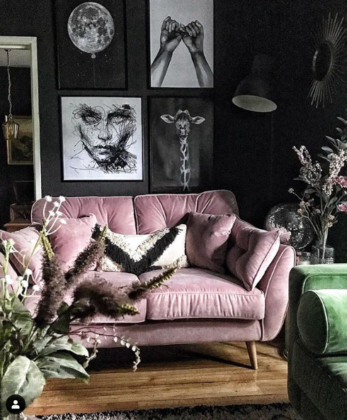 feature wall, velvety pink sofa, tassel cushion, home accessories, home style blog , home decor ideas
