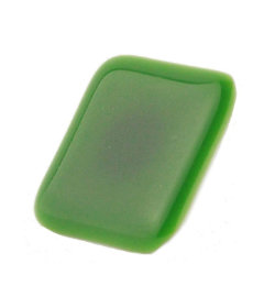 Square Mat Green Glass Satin Nickel Drawer Knob 1 1/2""