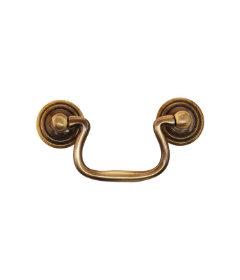 "Antique Cast Brass Swan Neck Bail Pull 2 1/2"" Borings"