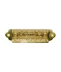 "Brass Victorian Large Bin Pull: 3-1/2"" Centers"