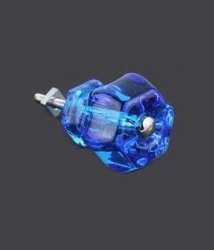 "Antique Depression Transparent Blue Glass Drawer Knob 1-1/2"""