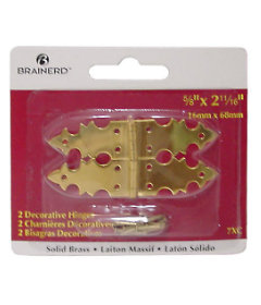 "Solid Brass Decorative Hinge - 2-11/16"" X 5/8"""