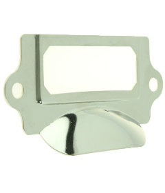 """Nickel Plated Cup Pull Label Holder - 3 1/4"""""""