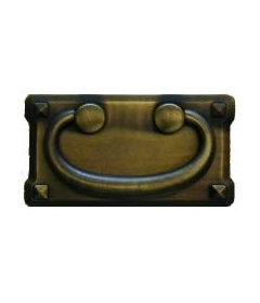 """Antique Brass Mission Horizontal Bail Pull: 3""""  Centers"""