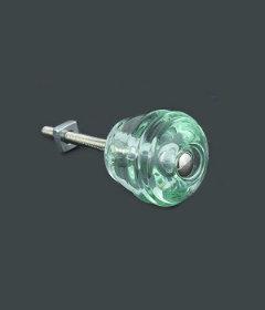 """Antique Depression Bottle Green Glass Cask Drawer Knob 1-1/8"""""""