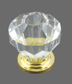 """Clear Acrylic Gold Plated Base Drawer  Knob 1 1/4"""""""