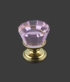 """Pink Cut Glass Gold Plated Drawer Knob  7/8"""""""
