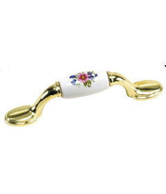 """Brass Plated w/White Acrylic Floral Drawer Pull Centers: 3"""""""