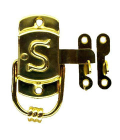 "Brass Left Sellers""S"" Cabinet Latch and Catch-3/8"" x 1 1/2"""