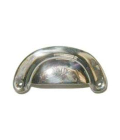 "Polished Brass Nickel Plated Bin Pull: 3"" Centers"
