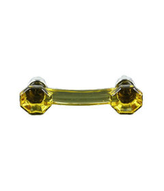 Octagonal Amber Glass w/Chrome Drawer Pull Centers: 3""