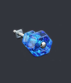 "Antique Depression Transparent Blue Glass Drawer Knob 1-1/4"""
