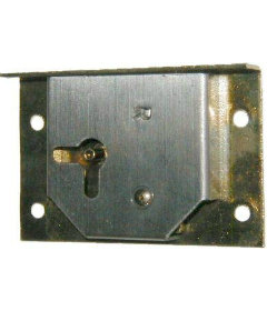 Right Hand Cabinet Door or Drawer Brass Plated Half Mortise Lock