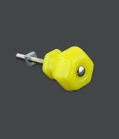 "Antique Depression Lemon Yellow Glass Drawer Knob 1-1/2"""