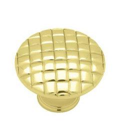 "Brass Plated Basket Weave Knob 1-3/16"""