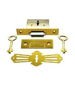 Brass Roll Top Desk Square Full Mortise Lock Set