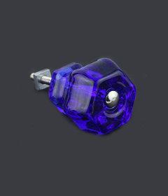 "Antique Depression Blue Cobalt Glass Drawer Knob 1-1/2"""