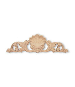 "Center Shell Splash Wood Carving  Applique- 13-1/2"" X 3/4"""
